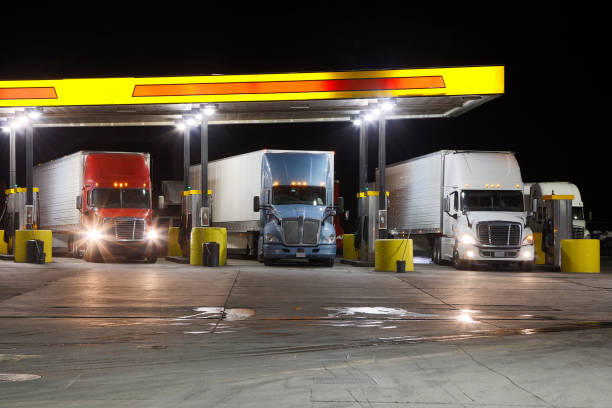 Trucks Filling Up at Truck Stop, Missouri, USA stock photo
