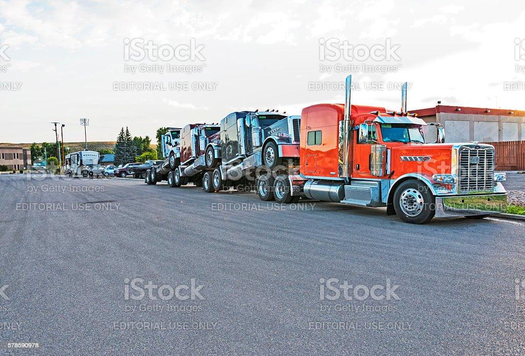 Trucks in Casper hitching a ride stock photo