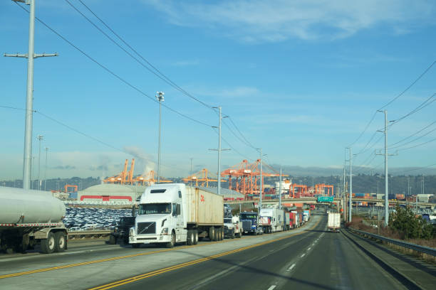 Trucks leaving Port of Tacoma stock photo