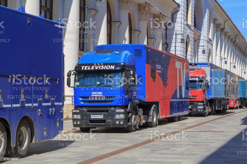 Trucks Of Mobile Tv Studio Of Federal Channel Russia 1 Near Historic