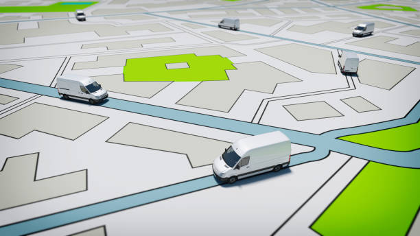 Trucks on a road city map. Concept of global shipment and GPS tracking - foto stock