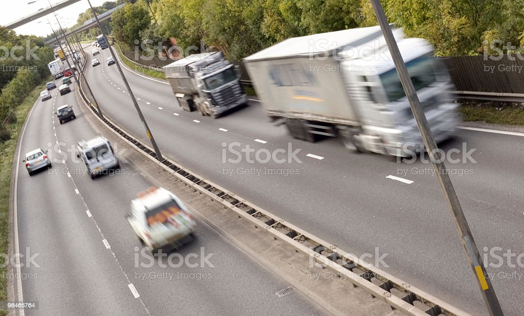 Trucks on a UK road royalty-free stock photo