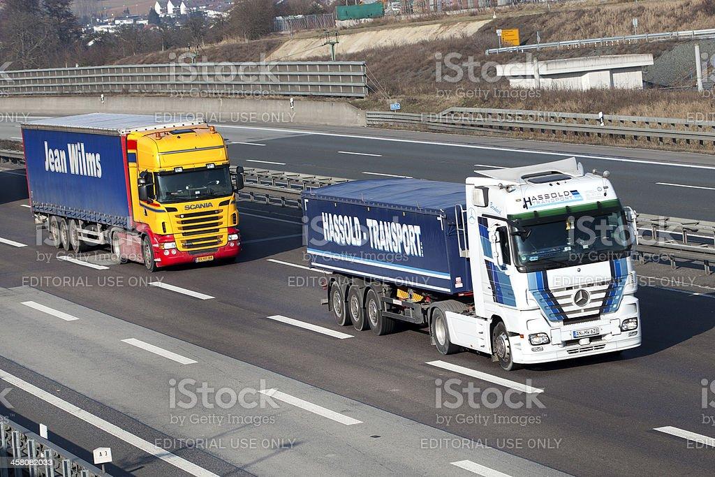 Trucks on german Autobahn royalty-free stock photo