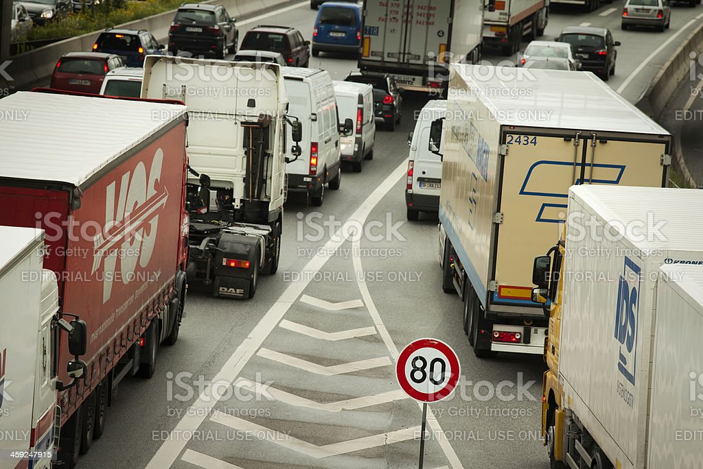 Trucks on Highway A1 Autobahn, Germany royalty-free stock photo