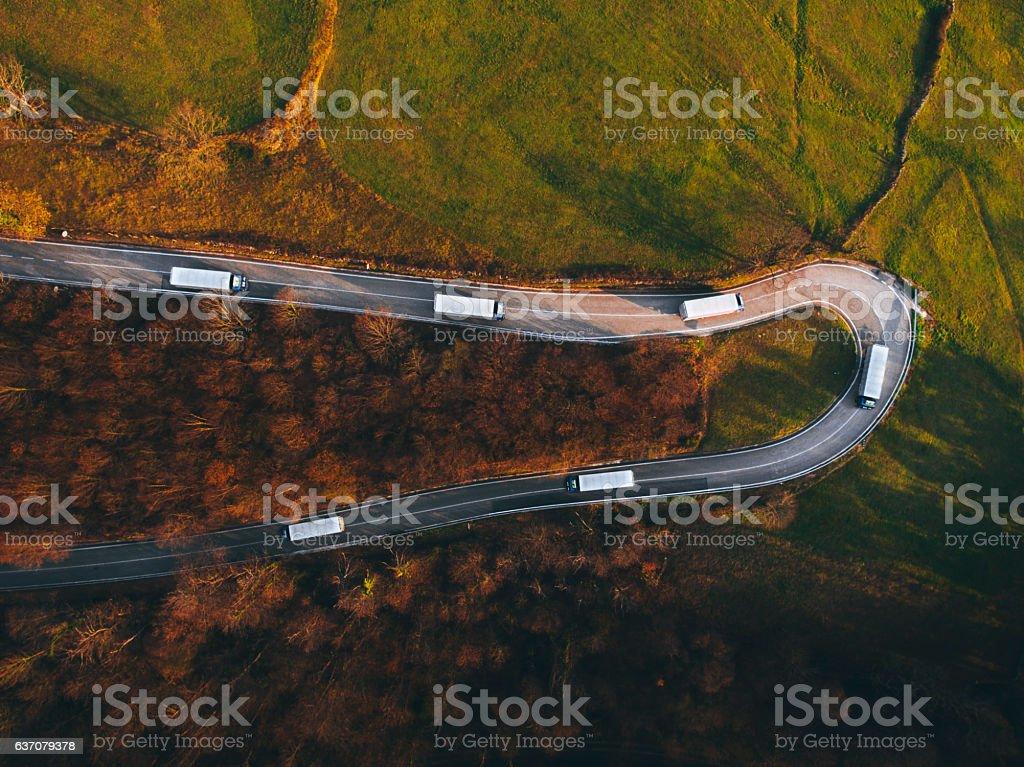 Trucks on the road stock photo