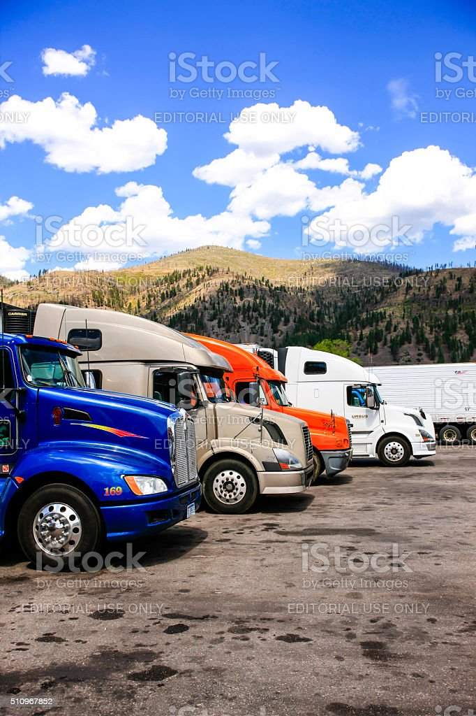 Trucks parked at a rest stop just off I-90 near Lola in Montana
