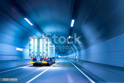 istock Trucks passing through tunnels 1023119704