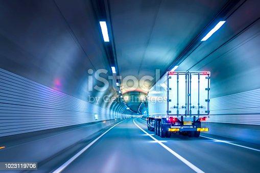 istock Trucks passing through tunnels 1023119706