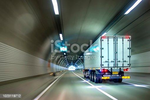 istock Trucks passing through tunnels 1023119712