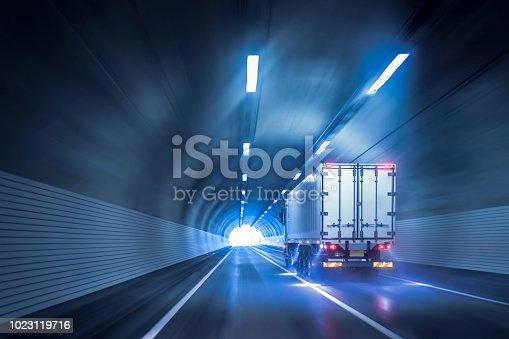 istock Trucks passing through tunnels 1023119716