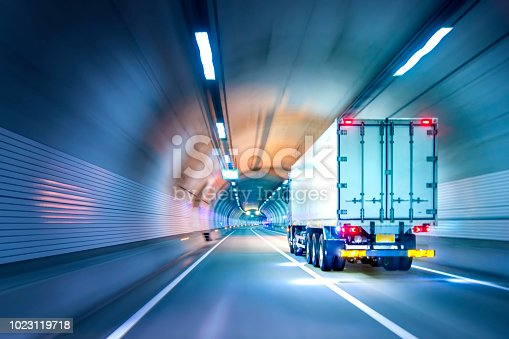 istock Trucks passing through tunnels 1023119718