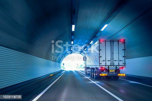 istock Trucks passing through tunnels 1023119720