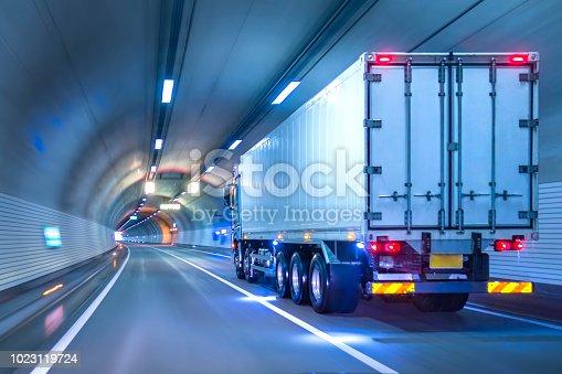 istock Trucks passing through tunnels 1023119724