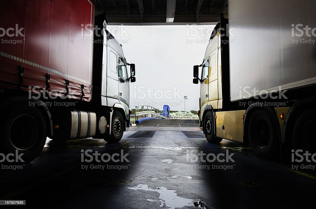 Trucks ready to depart car ferry royalty-free stock photo