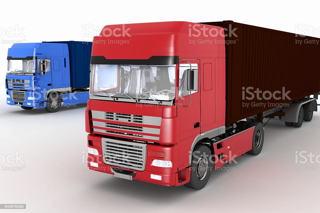 Trucks with semi-trailer isolated on white stock photo