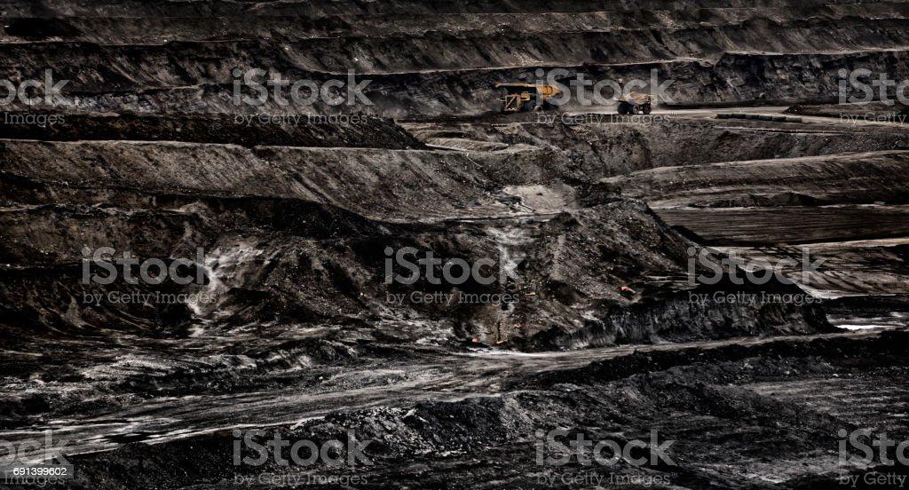 Trucks Working Oilsands Mine stock photo