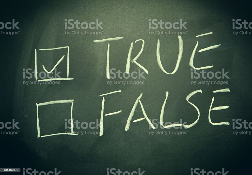 True and false check boxes written on a blackboard. royalty-free stock photo