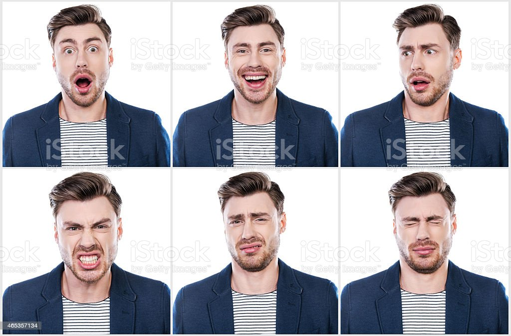 Collage of handsome young man expressing different emotions while...