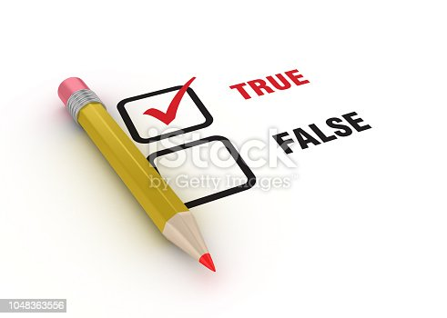 True False Check List with Pencil - White Background - 3D Rendering