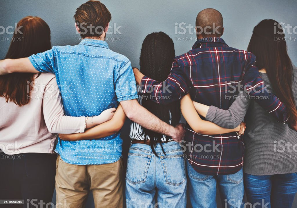 True friends have each other's backs stock photo