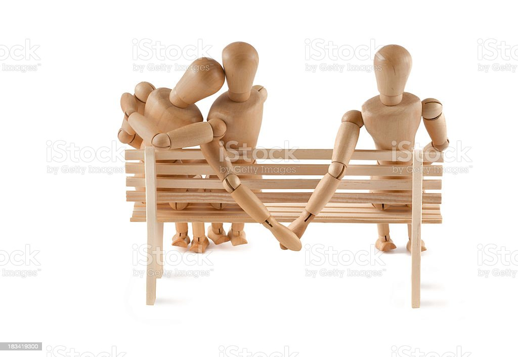 True Love - Mannequin on bench royalty-free stock photo