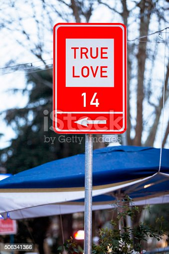 507397624istockphoto True Love with Valentine´s day Concept on traffic Sign 506341366