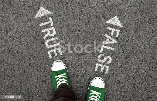 istock True or false drawing on the asphalt road 1190581109