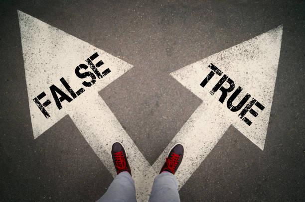 True or false TRUE versus FALSE written on the white arrows, dilemmas concept. dishonesty stock pictures, royalty-free photos & images