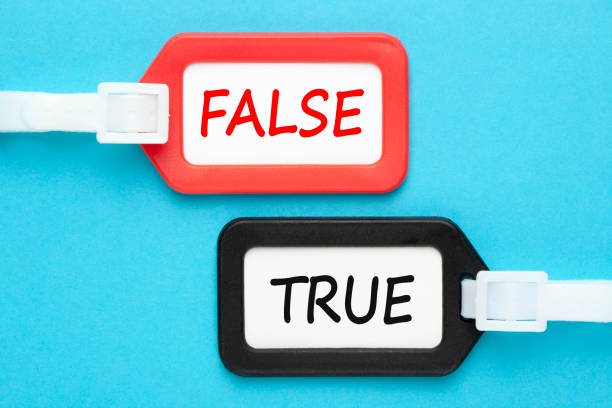 True or false written on luggage tags stock photo