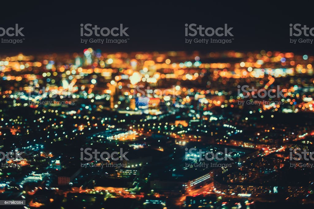 True tilt shift shooting of night city from high point stock photo