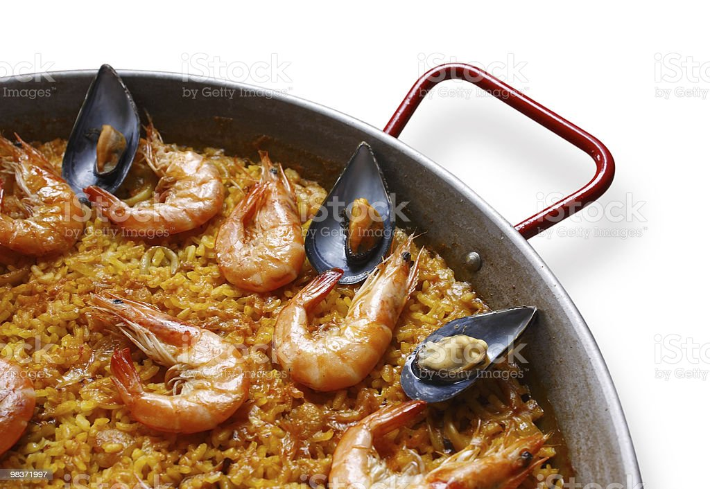True valencian paella of seafood. Spain royalty-free stock photo