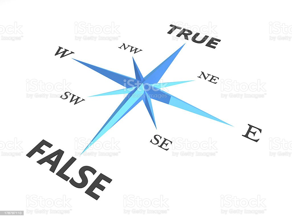 true versus false dilemma concept compass stock photo