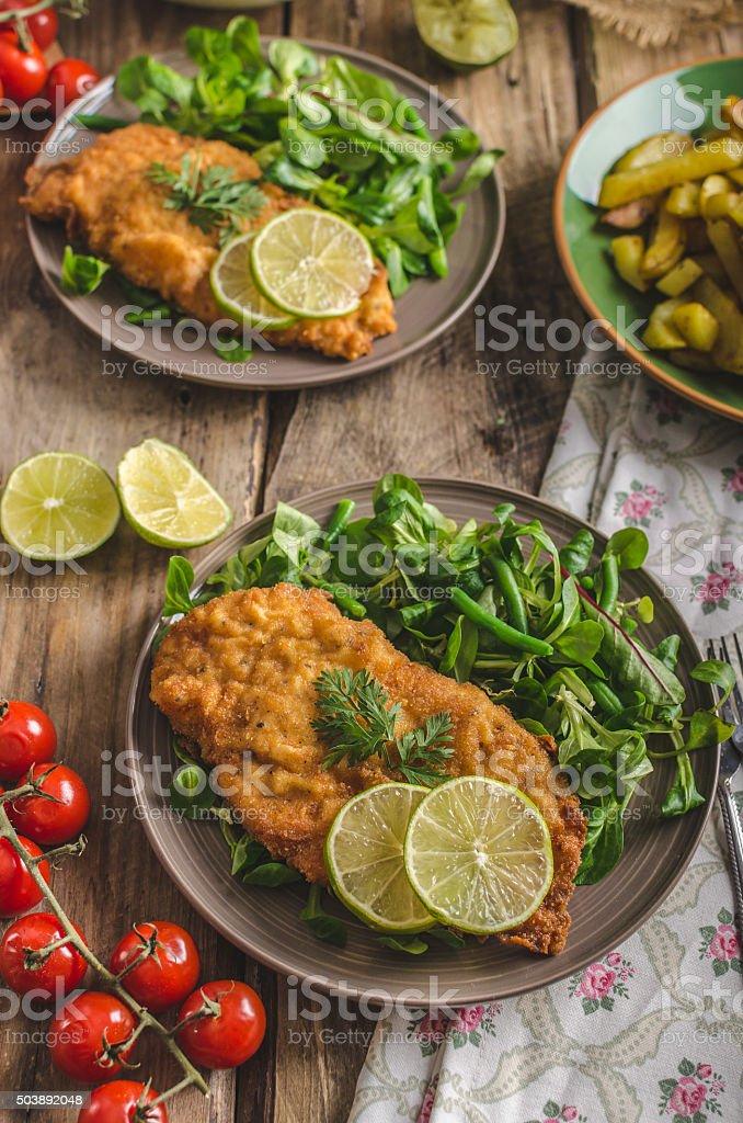 True Viennese schnitzel stock photo