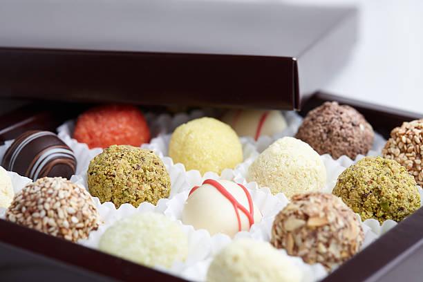 Truffle chocolates in box ストックフォト