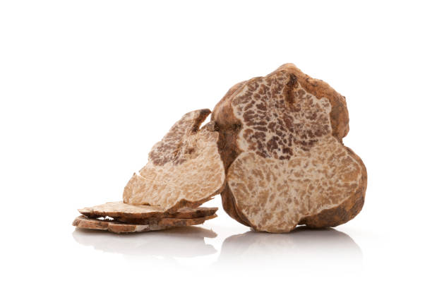 Truffle cross section isolated. stock photo