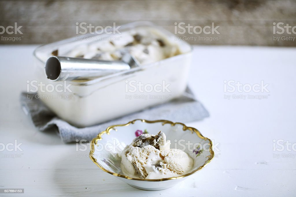 Truffle ice cream scooped in a rustic bowl, delicacy stock photo
