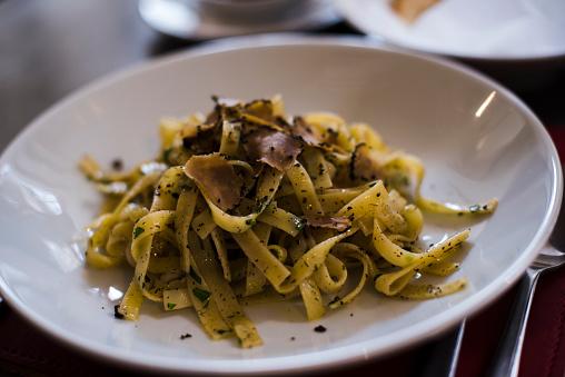 Truffle Tagliatelle Pasta Stock Photo - Download Image Now