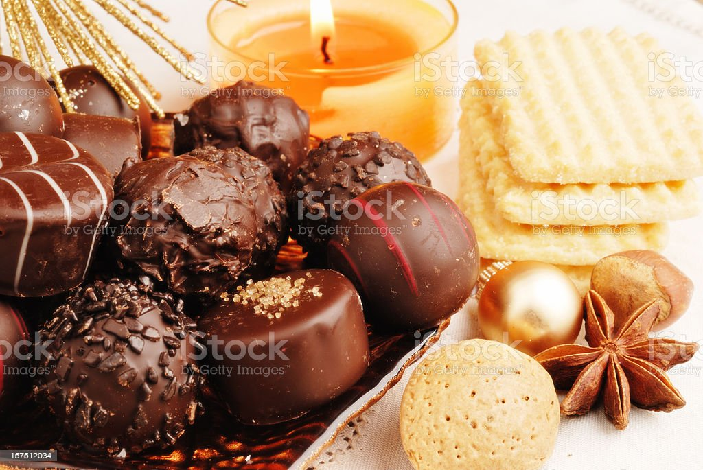truffles, cookies  and chrismas decoration royalty-free stock photo