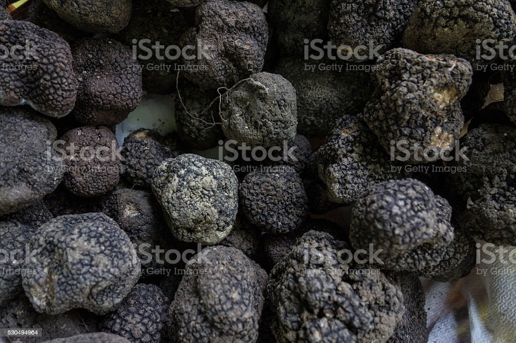 Truffles in a Basket for Sale stock photo