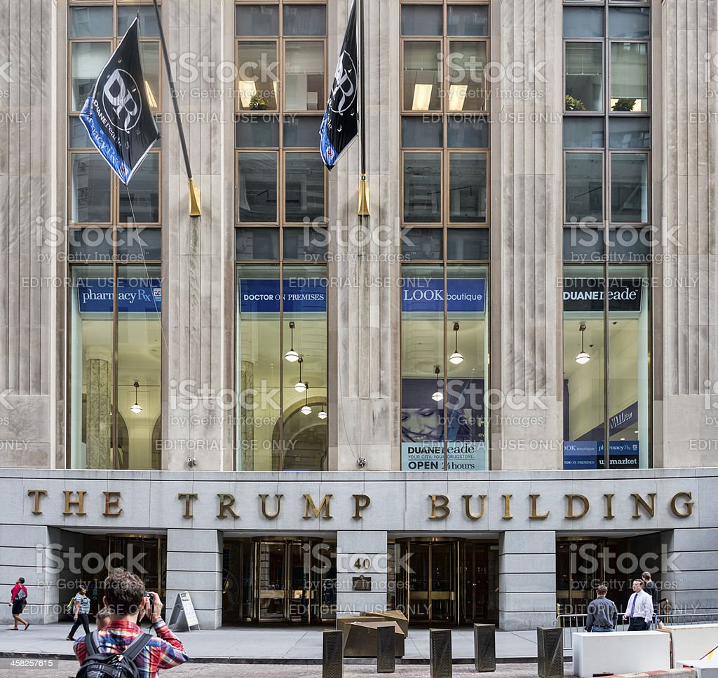 Trump Building on Wall Street royalty-free stock photo
