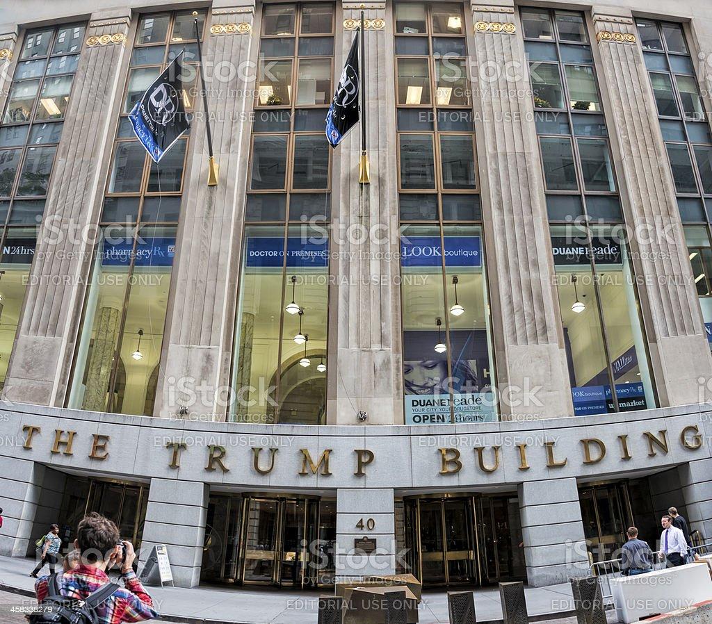 Trump Building on Wall Street stock photo