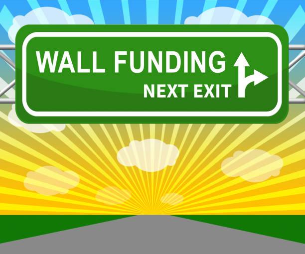 trumpf gofundme politische fonds für usa-mexiko-wand finanzierung - 3d illustration - sponsorenwand stock-fotos und bilder