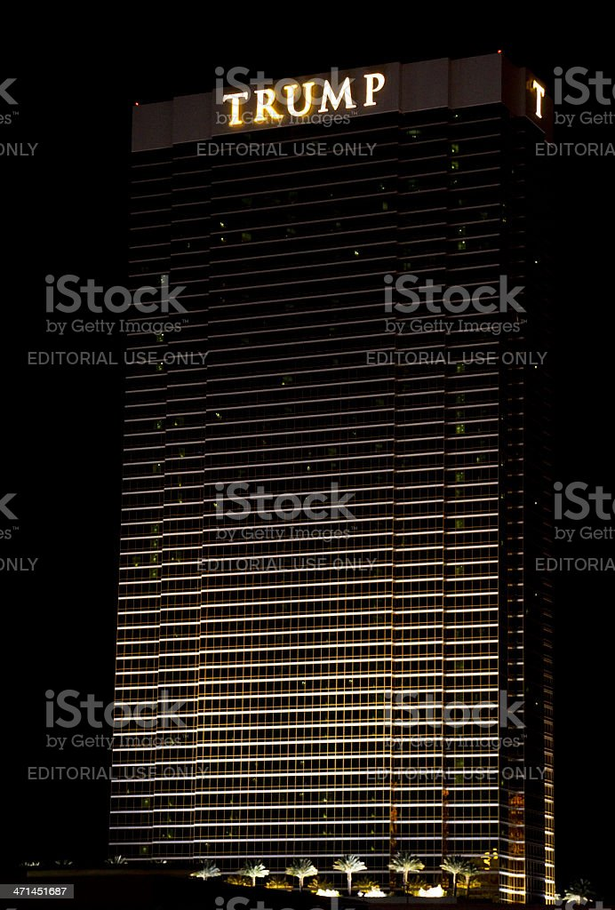 Trump Hotel and Casino Nighttime stock photo