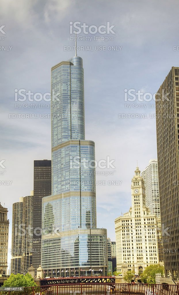 Trump International Hotel and Tower in Chicago stock photo