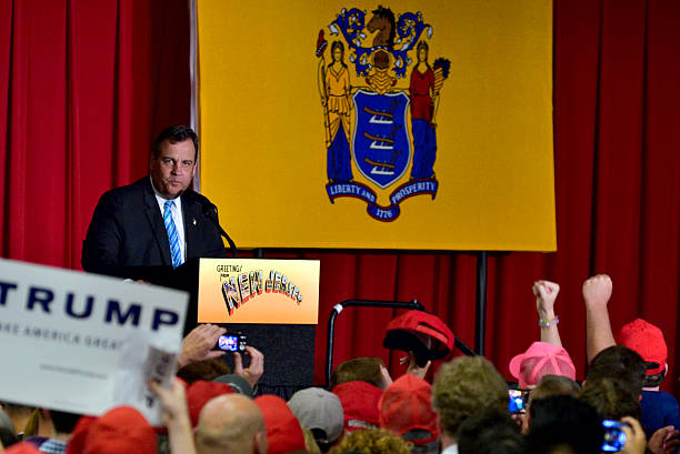 Trump joins Christie at Fundraiser in Lawrence Township, New Jersey stock photo