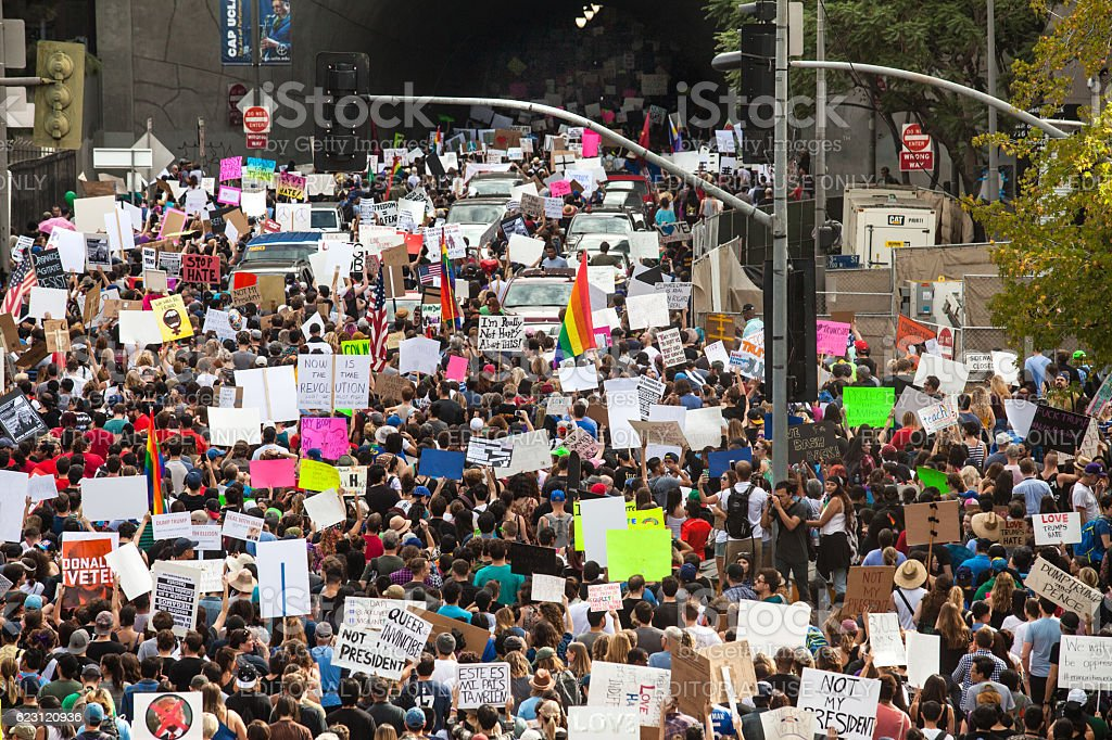 Trump Protest March, Entering Third Street Tunnel, Downtown Los Angeles stock photo