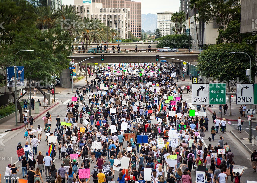 Trump Protest March, Figueroa Street Downtown Los Angeles stock photo
