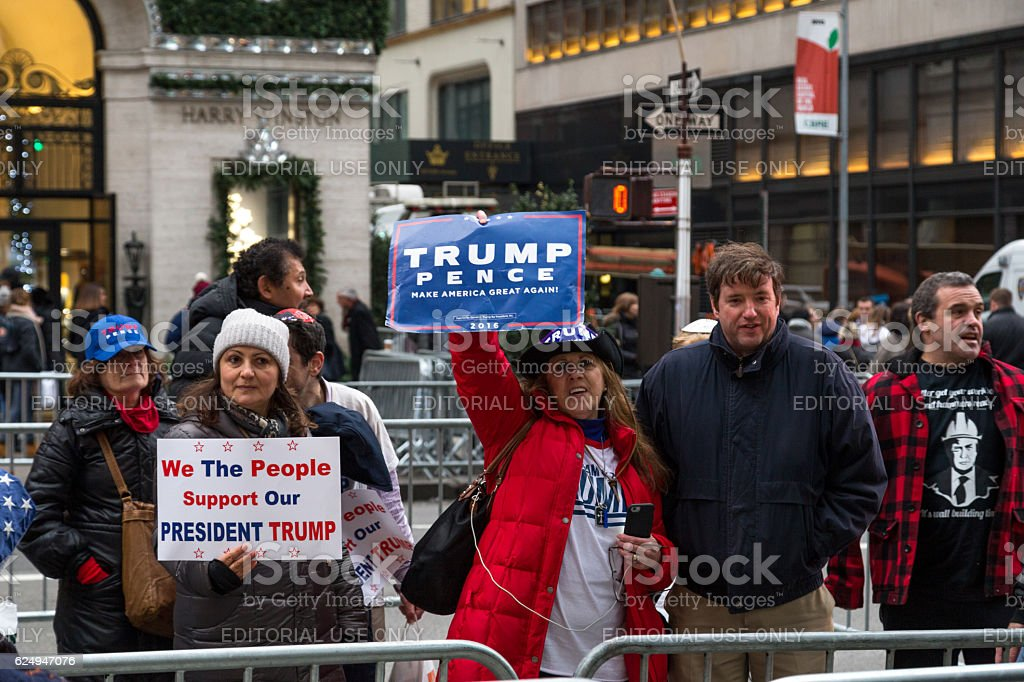 Trump supporters in New York City stock photo
