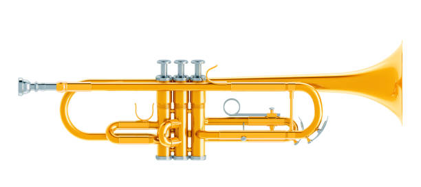 Trumpet, 3d rendering isolated on white background stock photo