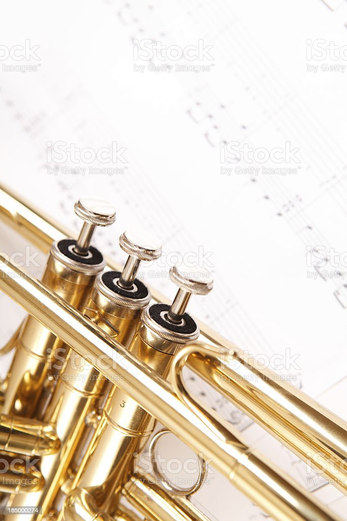 Trumpet and notes stock photo
